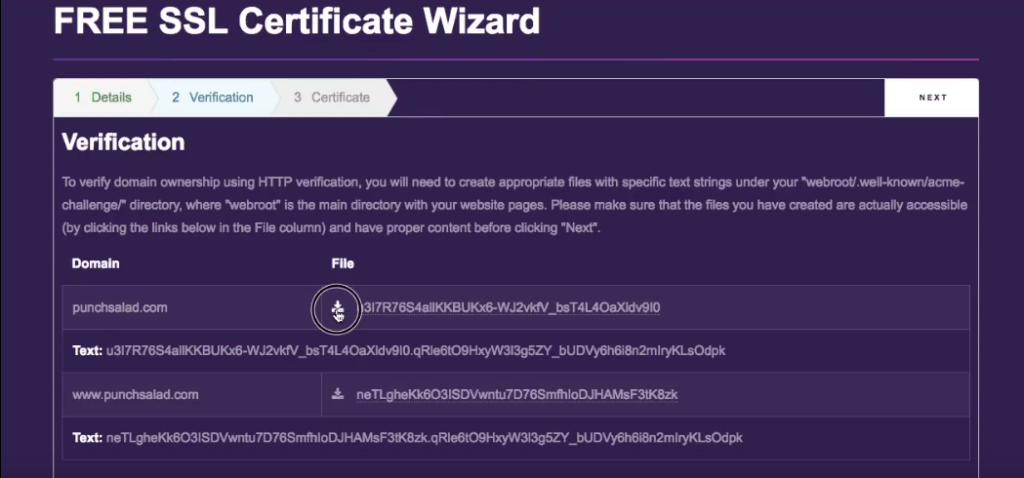 download letsencrypt verification file