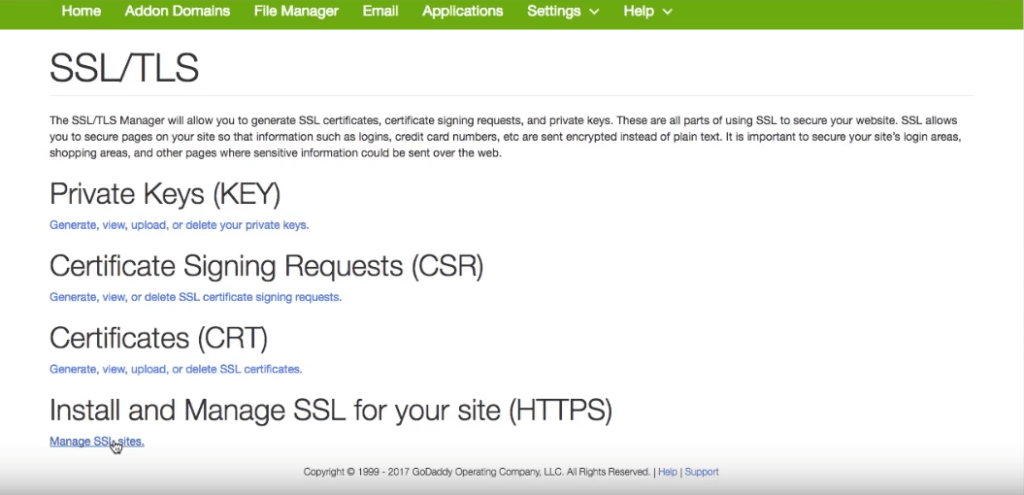 cpanel manage ssl sites