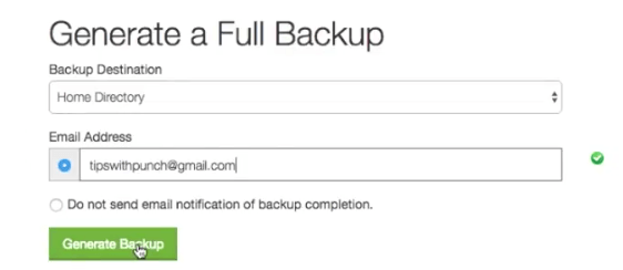 Generate full backup
