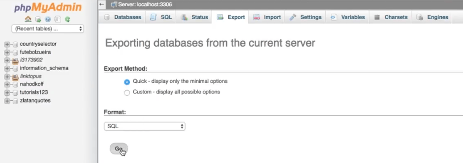 Export database for backup