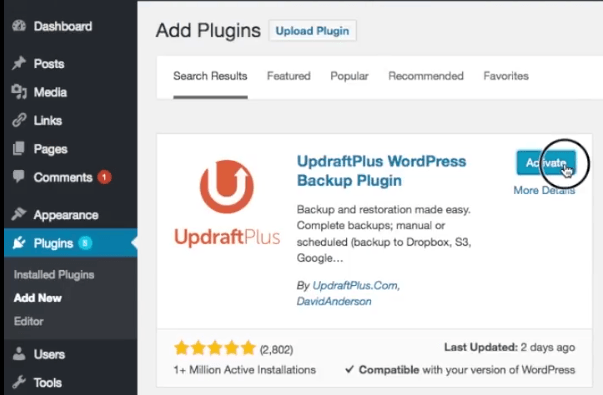 Activate updraftplus plugin