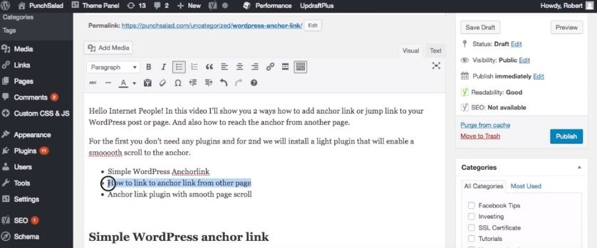 WordPress Anchor Link: How to Add a Smooth Page Scroll (2018)