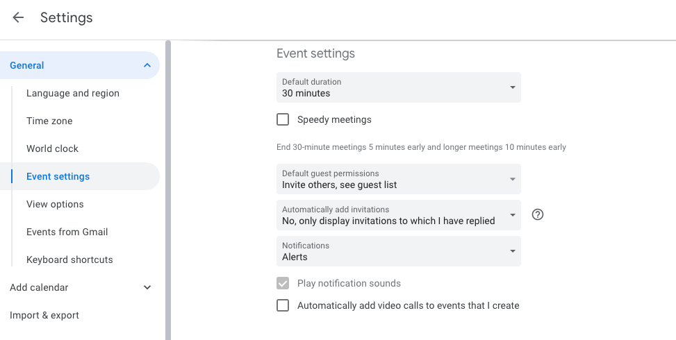 events settings
