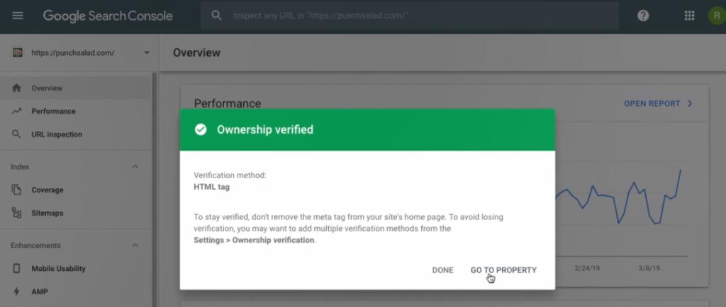 url verified with Google