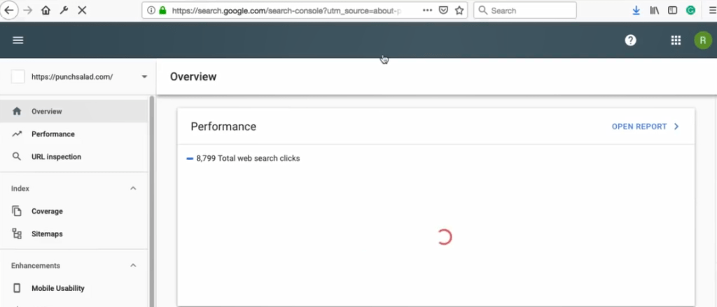 used search console screen