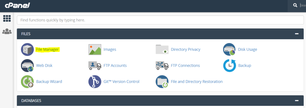 Click on file manager in cpanel dashboard