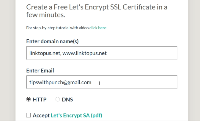 Enter domain name and email into ssl certificate generator