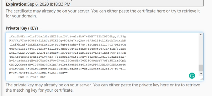 Paste privatekey