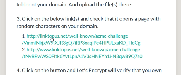 click on the links to check that verification files are accessible