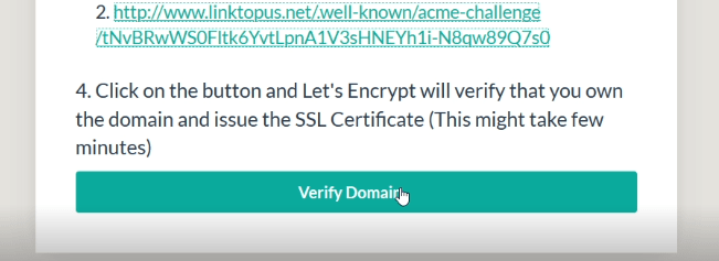 Click on verify domain button