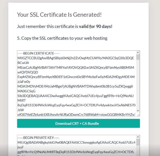 SSL certificate is generated