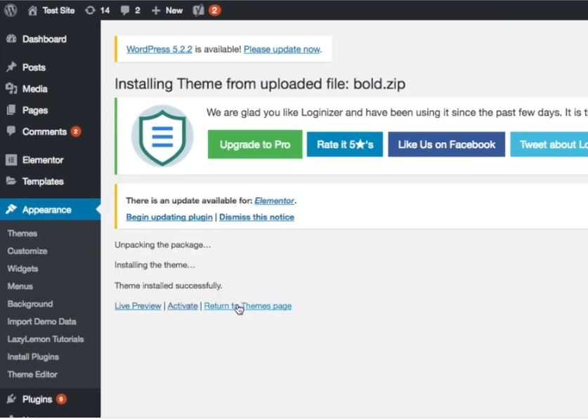 Install ThemeForest theme on WordPress - step 5