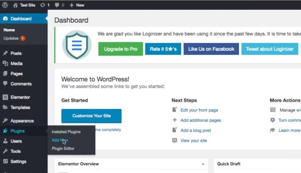 Installing Yoast SEO plugin in WordPress, step 1