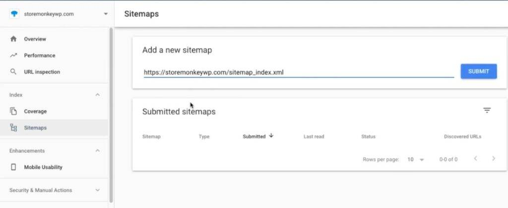 Submitting Sitemap To Google Search Console, step 3