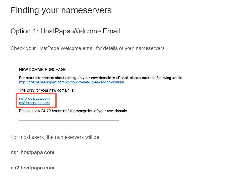 Obtain the Name Servers of your Hosting Provider. Image 1